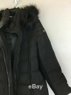 Women's DKNY Long Length Puffer Coat With Faux Fur Trim Hood, Size XXL Black