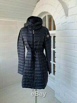 Women's Moncler'Barbel' Navy Blue Long Hooded Puffer Down Coat Jacket Sz 3