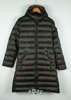 Women's Moncler Mokacine Down Puffer Coat Long Jacket Brown Hooded Size 4