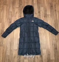 Women's Navy Blue North Face 600 Goose Down Long Hood Parka Coat Jacket Size XS