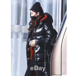 Women's Shiny Black 90% Down Long Hooded Coat Winter Warm Puffer Jacket Overcoat