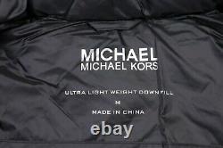 Womens MICHAEL KORS Quilted Down Puffer coat size UK 12/14 Long Lightweight hood