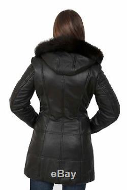 Womens Quilted Parka Leather Coat 3/4 Long Puffer Fitted Padded With Hood Jacket