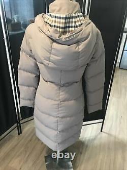 Womens Size XS/8 Grey Designer Aquascutum Padded Long Puffer Jacket