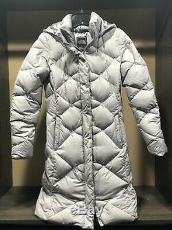 Womens The North Face 550 Lilac Winter Long Down Hooded Quilted Coat Parka XS