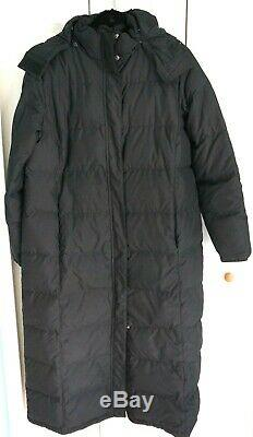Womens Ultrawarm black hooded LL Bean Goose Down Full Length Puffer Coat XL EUC