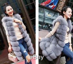 Womens Winter Real Warm Slim Long Fur Gilet Waistcoat Vest Jacket Quilted Coats
