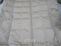 Womens size 2 Moncler beige quilted down long coat jacket