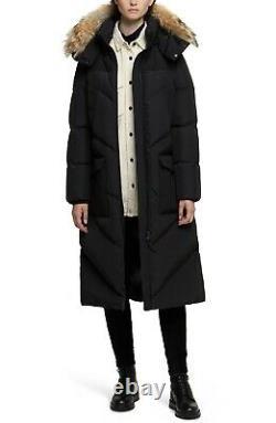 Woolrich Womens Logo Long Parka Down Puffer Coat Genuine Coyote Fur Black Size S