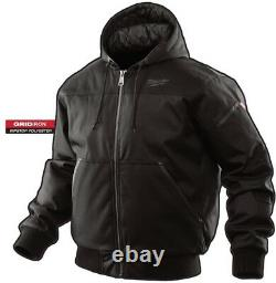 Work Jacket Milwaukee Mens Large Black Hood Water Resistant Polyester Insulated