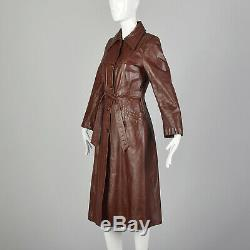 XXS Red Leather Coat Burgundy Winter Quilted Lining Long Trench Belted 70s VTG