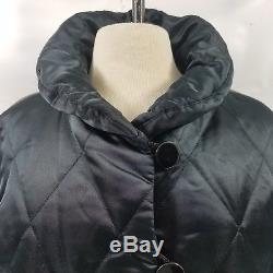 YSL Yves Saint Laurent Women Puffer Coat 10 Long Quilted Jacket Button Black 42