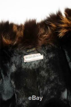 YVES SAINT LAURENT VINTAGE Black Quilted Brown Fur Coat Long Jacket FR42 US10