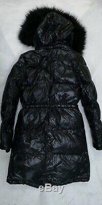 ZARA Black Down Anorak Long Puffer Jacket Coat With Fur Hood Extra Small XS