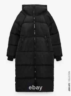 ZARA Black Extra-Long Water Repellent Puffer Coat Size L Ref 4391/704