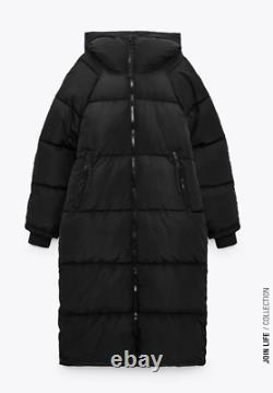 ZARA Black Extra-Long Water Repellent Puffer Coat Size M Ref 4391/704