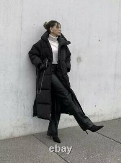 ZARA Black Extra-Long Water Repellent Puffer Coat Size S Ref 4391/704