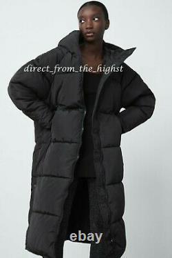 ZARA Black Extra-Long Water Repellent Puffer Coat Size XS S M L Ref 4391/704