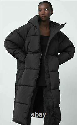 ZARA Black Extra-Long Water Repellent Puffer Coat XS S M L XL UK SELLER FAST DEL