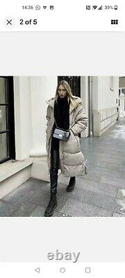 ZARA SAND Extra-Long Water Repellent Puffer Coat Size SMALL