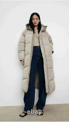 ZARA SAND Extra-Long Water Repellent Puffer Coat Size XS RARE FAST DELIVERY AVAI