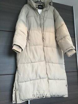 ZARA SAND Extra-Long Water Repellent Puffer Coat XL
