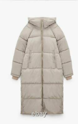 ZARA SAND Extra-Long Water Repellent Puffer Coat XS S M L XL UK SELLER FAST DEL