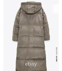 Zara AW2020 Long Down Puffer Coat Size M Wind and Water Protection Taupe BNWT