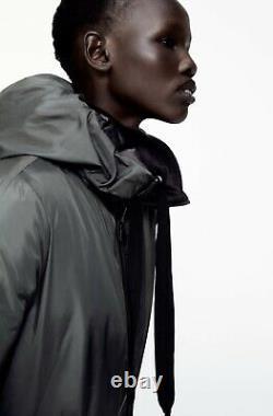 Zara Black / Dark Green Reversible Water Repellent Long Puffer Coat M UK12 P37M