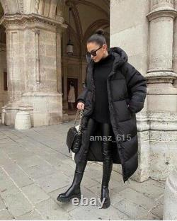 Zara Black Long Down Feather Puffer Coat Jacket Size XXL Sold Out Bloggers Fave