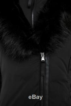 Zara Black Long Padded Down Warm Winter Coat Jacket Puffer Anorak Hood Fur