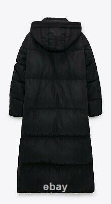 Zara Black Puffer High Collar Long Down Jacket Coat Xs 3046/253 Michelle Keegan