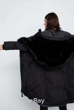 Zara Black Quilted Puffer Jacket Long Padded Down Coat Anorak Fur Hood Size L