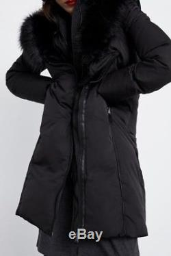 Zara Black Quilted Puffer Jacket Long Padded Down Coat Anorak Fur Hood Size S
