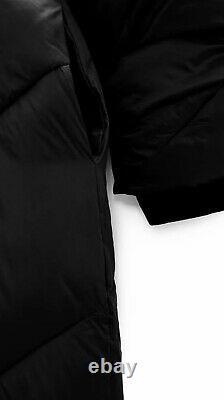 Zara Black Water Repellent Hooded Long Puffer Coat M UK14 # P41M