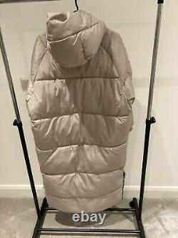 Zara Extra Long Puffer Coat Jacket Beige Water Repellant Size SMALL