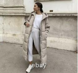 Zara Extra-long Water-repellent Puffer Coat Sand Size M Ref. 4391/704 Bloggers