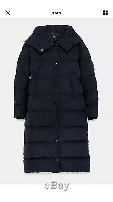 Zara Long Quilted Padded Down Jacket/ Coat Size XL