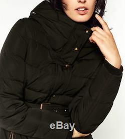 Zara Long Quilted Padded Down Winter Coat Jacket Puffer Anorak Hood Fur