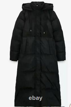 Zara Long down Puffer Coat Jacket with water and wind protection size XL