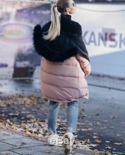 Zara Pink Black Reversible Down Puffer Anorak Long Coat Fw17 Sizes M New Tags