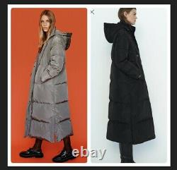 Zara Puffer Long coat jacket 3046/253 BLACK/TAUPE SOLD OUT