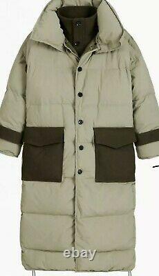 Zara SRPLS Green Down Feather Puffer Coat, Size M-L, BNWT, RP £229