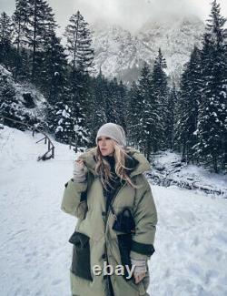 Zara SRPLS Green Down Feather Puffer Coat, Size XS-S BNWT