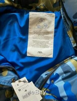 Zara Sold Out Blue Camouflage Print Quilted Coat Size M 8073/836 Recycled