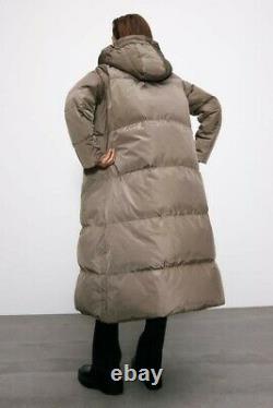 Zara Taupe Puffer High Collar Long Down Jacket Coat M 3046/253 Michelle Keegan