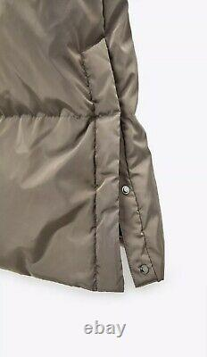 Zara Taupe Puffer High Collar Long Down Jacket Coat Xs 3046/253 Michelle Keegan